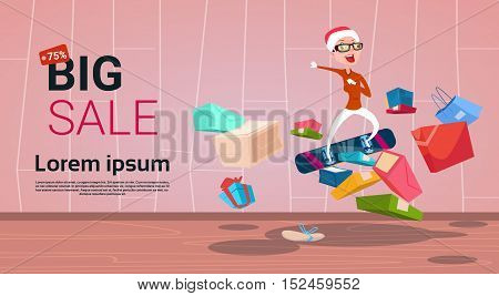 Happy Woman On Snowboard Big Holiday New Year Sale Shopping Flat Vector Illustration