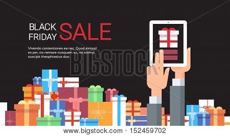 Hand Hold Tablet Big Holiday Sale Black Friday Online Shopping Flat Vector Illustration