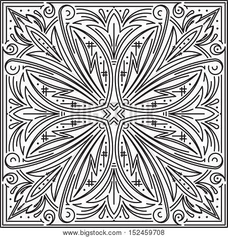 Abstract Vector Black Square Lace Design In Mono Line Style - Mandala, Ethnic Decorative Element. Ca