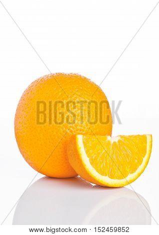 Healthy organic orange with slice on white background