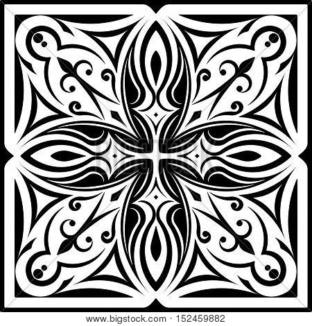 Abstract Vector Black Square Lace Design - Mandala, Ethnic Decorative Element. Can Be Used As Anti S