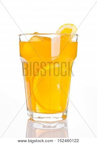 Glass of healthy orange juice with ice cubes on white background
