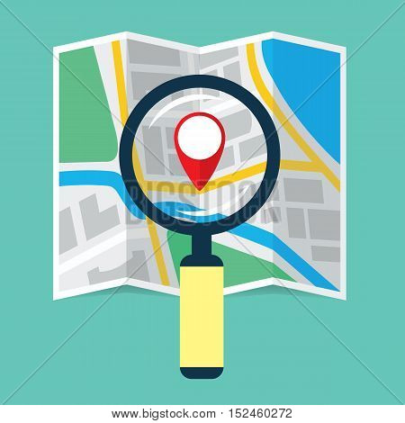 Magnifier over navigational map flat icon. Magnifying glass with handle zooming fragment of a folding paper map focused on gps symbol. Colored vector eps8 illustration.