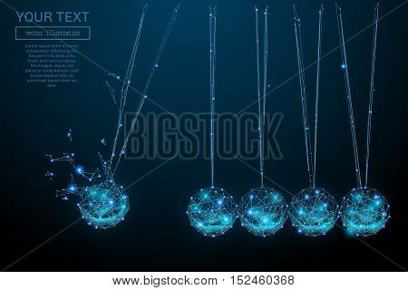 Newtons Cradle from abstract polygonal points blue. Blue structure style vector illustration