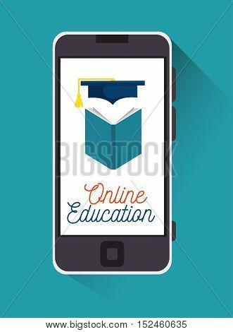 education online smartphone book graduation design vector illustration