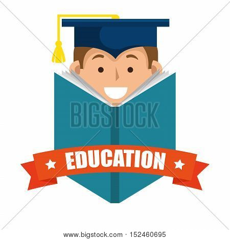 boy student graduation distance e-learning graphic vector illustration