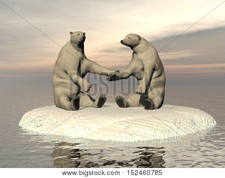 Friendship white bears in the pole - 3D render