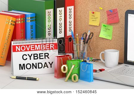 Cyber Monday concept 3D rendering on the table