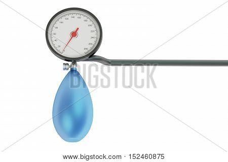 mechanical pressure-gauge sphygmomanometer. 3D rendering on white