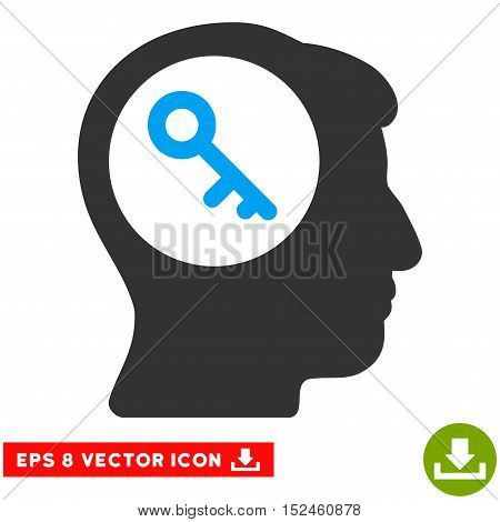 Brain Key EPS vector pictograph. Illustration style is flat iconic bicolor blue and gray symbol on white background.