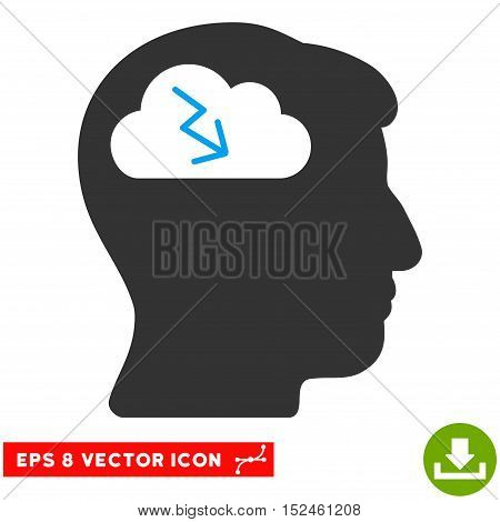 Brainstorming EPS vector pictograph. Illustration style is flat iconic bicolor blue and gray symbol on white background.