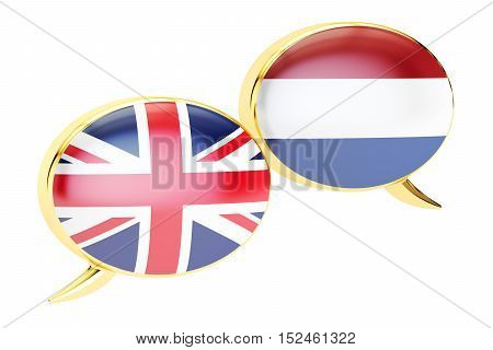 Speech bubbles Dutch-English conversation concept. 3D rendering isolated on white background
