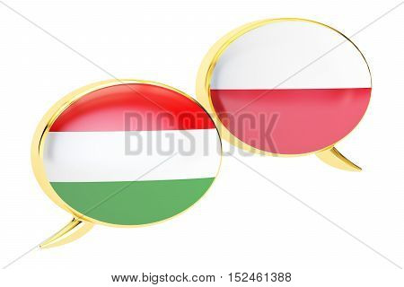 Speech bubbles Hungarian-Polish conversation concept. 3D rendering isolated on white background