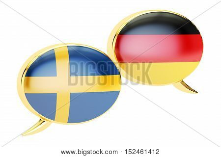 Speech bubbles Swedish-German conversation concept. 3D rendering isolated on white background