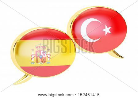 Speech bubbles Turkish-Spanish conversation concept. 3D rendering