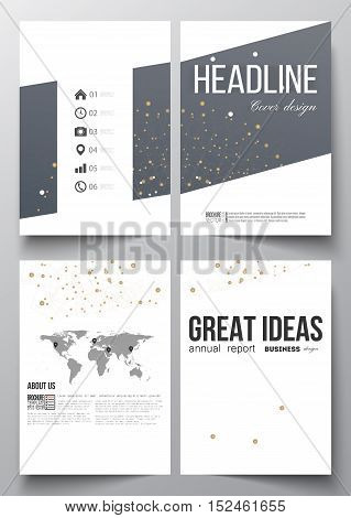Set of business templates for brochure, magazine, flyer, booklet or annual report. Abstract polygonal low poly backdrop with connecting dots and lines, connection structure. Digital or science vector