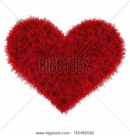 Valentine Fur Red Heart On White Background, Vector Illustration