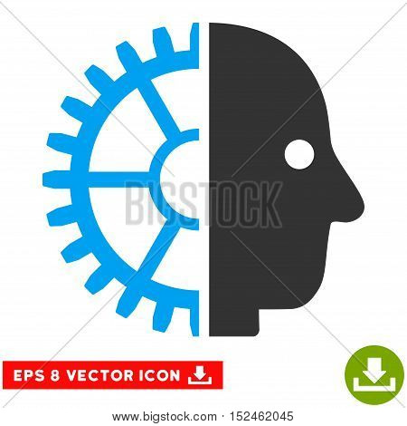 Cyborg Head EPS vector pictograph. Illustration style is flat iconic bicolor blue and gray symbol on white background.