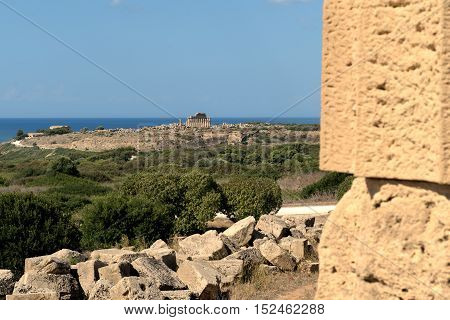 Seascape Seen From Ruins Of Greek Temple Selinunte Sicily Italy