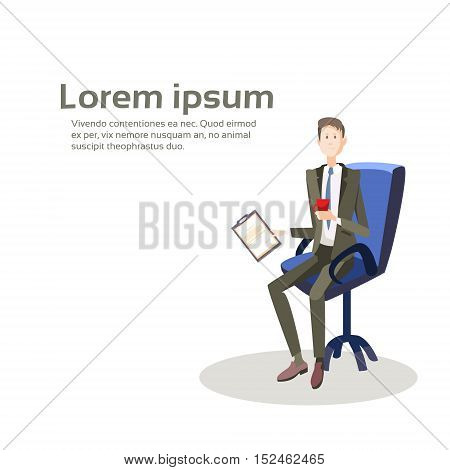 Business Man Sit In Armchair Hold Paper Contract Document Flat Vector Illustration