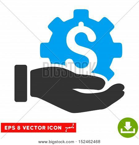 Development Service EPS vector pictogram. Illustration style is flat iconic bicolor blue and gray symbol on white background.