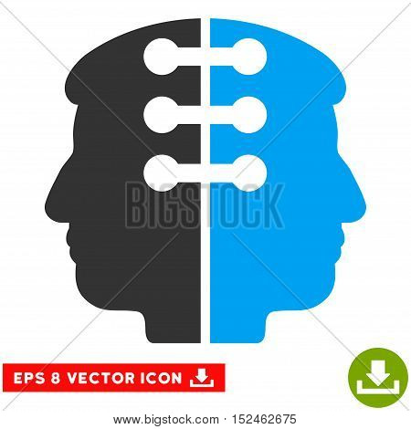 Dual Head Interface EPS vector pictograph. Illustration style is flat iconic bicolor blue and gray symbol on white background.