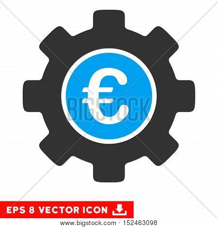 Euro Development Gear EPS vector icon. Illustration style is flat iconic bicolor blue and gray symbol on white background.