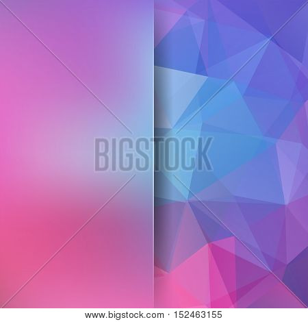 Abstract Geometric Style Pink Background. Blue Business Background Blur Background With Glass. Vecto