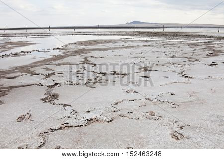saline (salt lake) Baskunchak. Astrakhan region. Russian landscape.