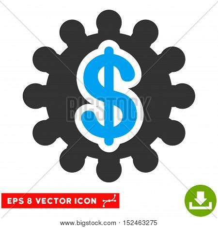 Financial Options Gear EPS vector pictograph. Illustration style is flat iconic bicolor blue and gray symbol on white background.