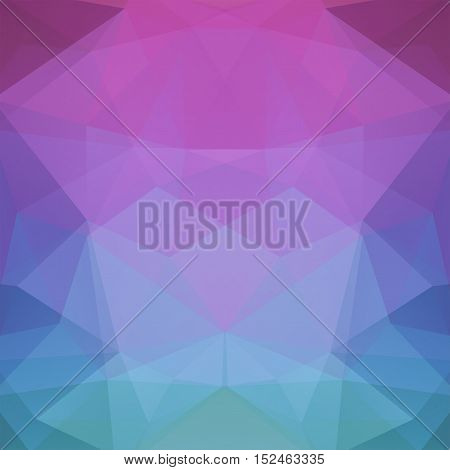 Background Made Of Pink, Blue Triangles. Square Composition With Geometric Shapes. Eps 10