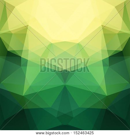Background Made Of Yellow, Green Triangles. Square Composition With Geometric Shapes. Eps 10