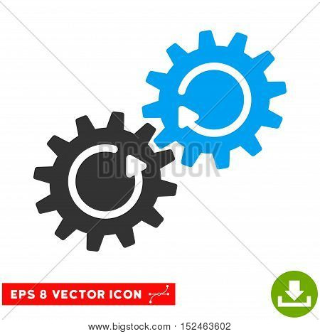 Gear Mechanism Rotation EPS vector pictogram. Illustration style is flat iconic bicolor blue and gray symbol on white background.