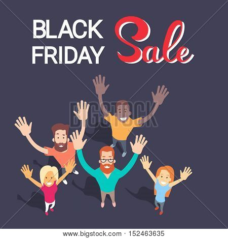 Excited People Group Big Sale Black Friday Shopping Banner Flat Vector Illustration