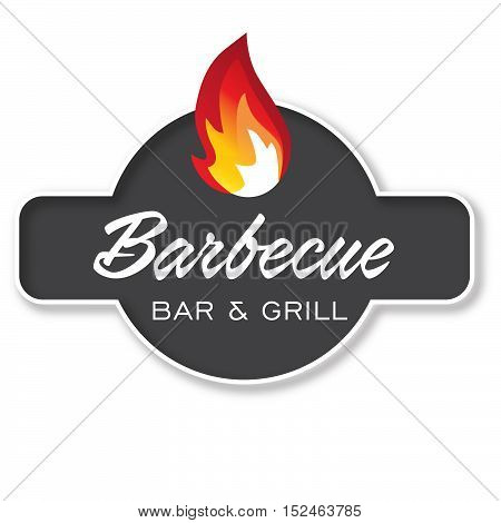 Barbecue - Grill Design Element in Logotype, Label, Badge. Fire flame vector illustration.