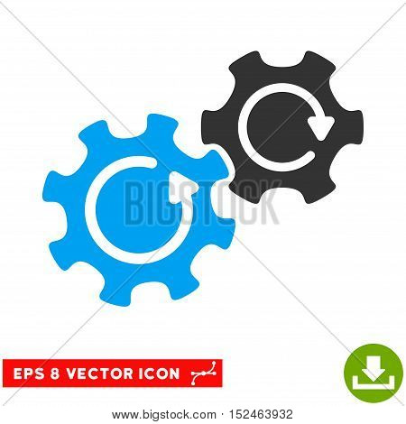 Gears Rotation EPS vector pictograph. Illustration style is flat iconic bicolor blue and gray symbol on white background.