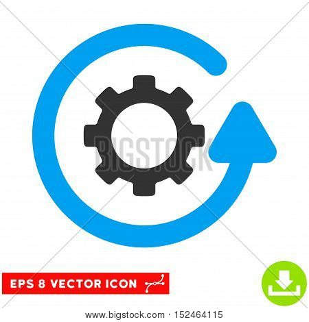 Gearwheel Rotation Direction EPS vector icon. Illustration style is flat iconic bicolor blue and gray symbol on white background.