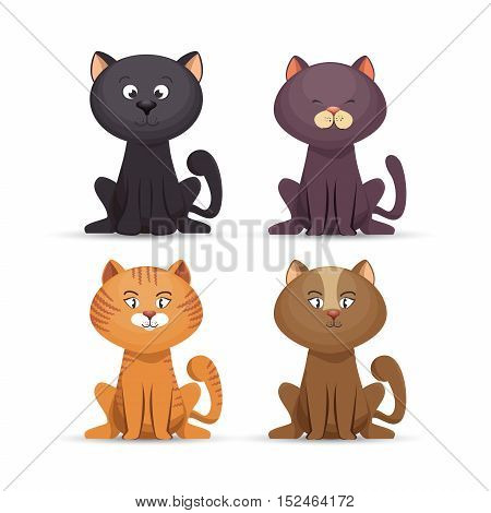 collection cat cute pet icon vector illustration eps 10