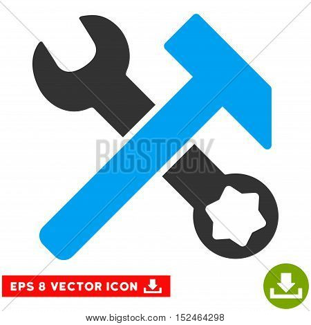 Hammer and Wrench EPS vector icon. Illustration style is flat iconic bicolor blue and gray symbol on white background.