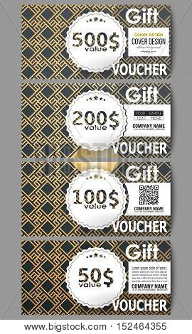 Set of modern gift voucher templates. Islamic gold pattern with overlapping geometric square shapes forming abstract ornament. Vector stylish golden texture on black background.