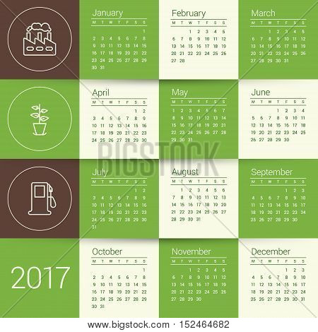 Calendar For 2017 Year. Vector Design Stationery Template With Ecology Concept Icons. Week Starts Mo