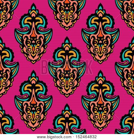 abstract pink damask seamless floral festive vector tiled design