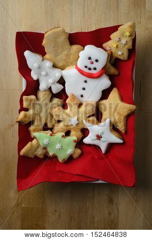 Christmas Shaped Biscuit Selection From Above