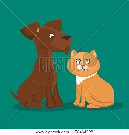 cartoon pets cat dog icon vector illustration eps 10