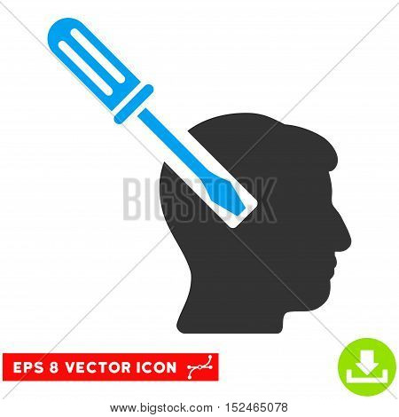 Head Screwdriver Tuning EPS vector icon. Illustration style is flat iconic bicolor blue and gray symbol on white background.