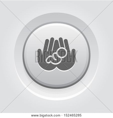 Life Care Icon. Grey Button Design. Isolated Illustration. Two hands holding a newborn baby.
