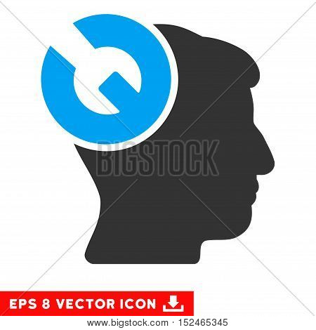 Head Surgery Wrench EPS vector icon. Illustration style is flat iconic bicolor blue and gray symbol on white background.