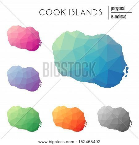 Set Of Vector Polygonal Cook Islands Maps Filled With Bright Gradient Of Low Poly Art. Multicolored