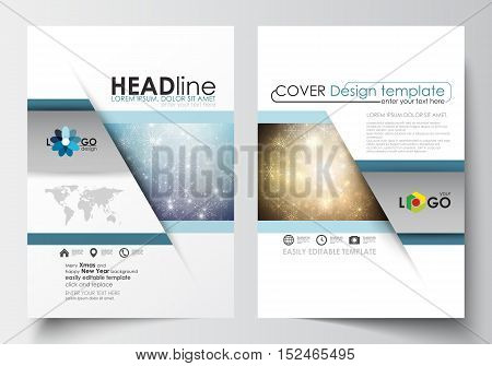 Business templates for brochure, magazine, flyer, booklet or annual report. Cover design template, easy editable blank, abstract flat layout in A4 size. Christmas decoration, vector background with shiny snowflakes and stars.