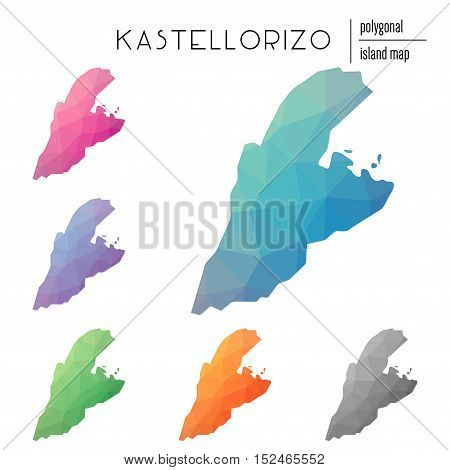 Set Of Vector Polygonal Kastellorizo Maps Filled With Bright Gradient Of Low Poly Art. Multicolored